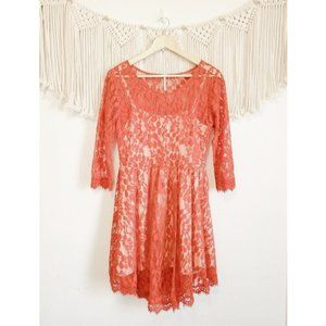 FREE PEOPLE Red Floral Mesh Lace Long Sleeve Dress
